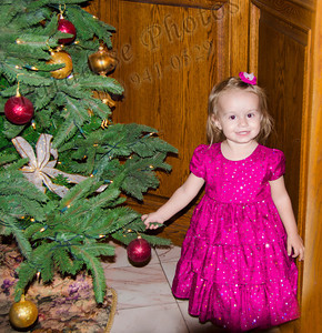 Girl in pink & Xmas  tree 120212 1052