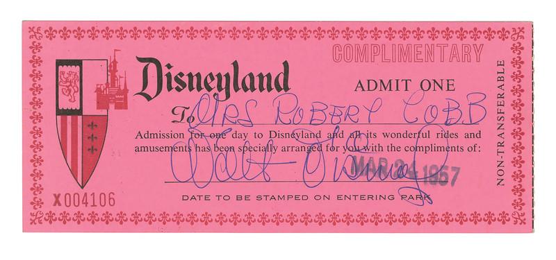 Lot 350 Walt Signed 1957 Disneyland Pass
