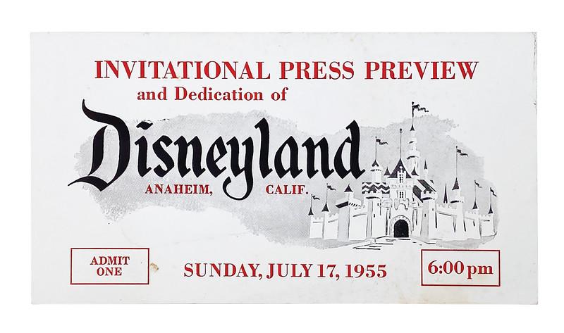 Lot 347 White Disneyland Opening Day Press Ticket