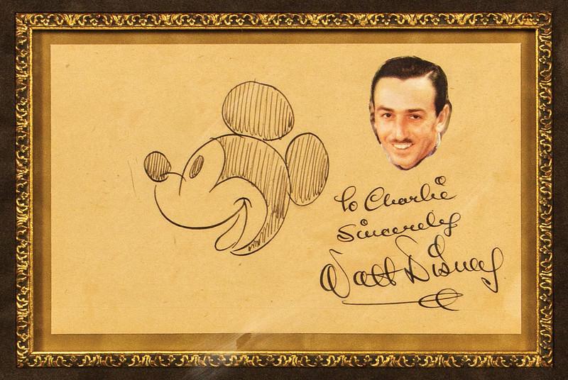 Lot 53 Walt DIsney Hand Drawn Mickey Mouse Sketch _ Signature