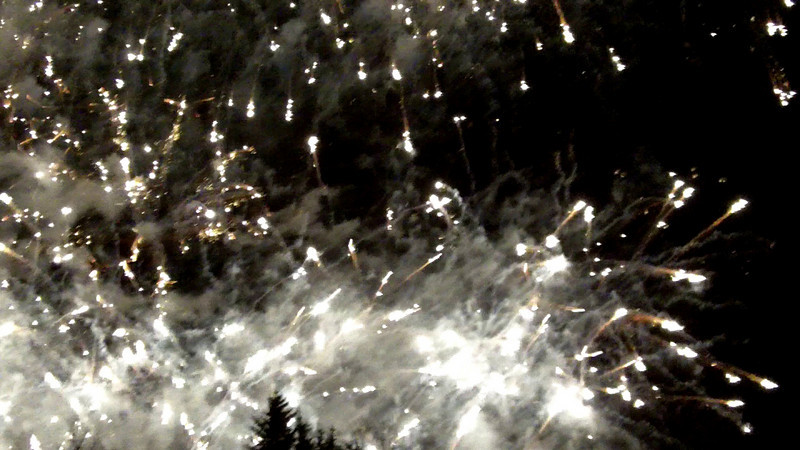 This is the fireworks display at the closing ceremony of the 2010 Winter Paralympics.  Too bad I couldn't get back a little farther to get it all in the frame at once.  It was still an exhilarating experience I won't forget.