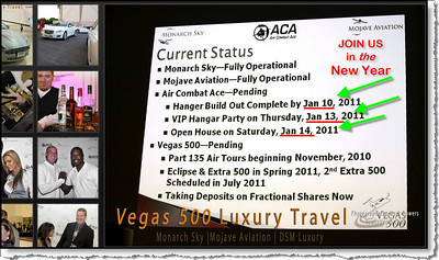 Vegas 500 jet service schedule of events for 2011.