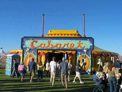 The Cabaret was tent set up for the performance artists and dancers. Cool little diversion.