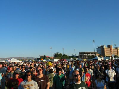 Crowd at Ween at the Snake Eyes Stage looking back at the stadium.