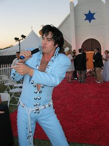 What would Vegas be without an Elvis impersonator.  Here he croons in front of the Wedding Chappel they had on the grounds.