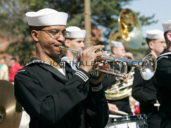 A member of the Navy Band plays during the 2006 Veishea Parade on Saturday, April 22, 2006.