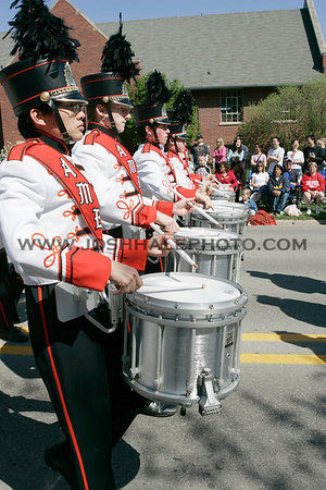 The Ames High Band snare line during the 2006 Veishea Parade on Saturday, April 22, 2006.