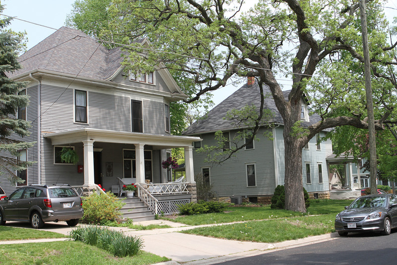 A lovely day on Oak Street in Stoughton, Wisconsin.