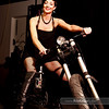 P5075244<br /> Susan Thompson - night look on a custom-made chopper from College Cyclery
