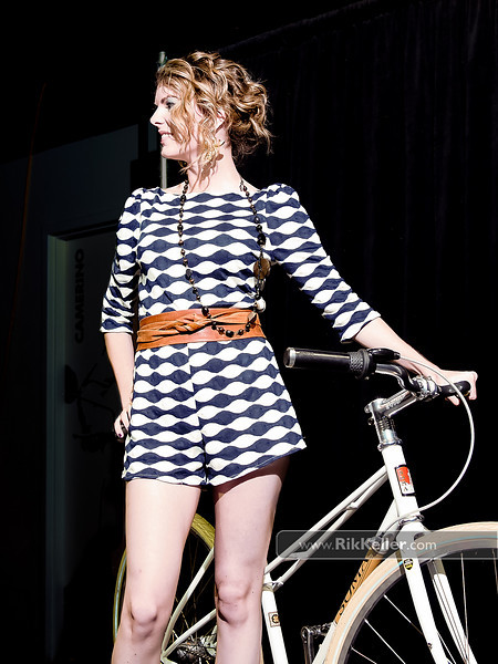 P5075189<br /> Bailey Stafko-Cox - daytime look with a romper from Sugar Shack with a Soma bike from College Cyclery