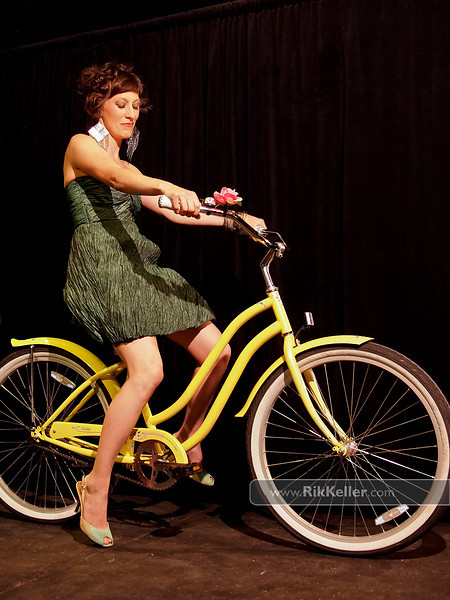 P5075214<br /> Tricia Hedahl - night look with a Phat cruiser bike from City Bicycle Works