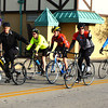"Debbie Blank | The Herald-Tribune<br /> Batesville resident Bill Flannery was leading the pack of about 25 cyclists who took part in Vélo in the Ville's rides along four routes Saturday. He and friends rode 24 miles in an hour and 45 minutes. They enjoyed water and bananas at the Ertel Cellars Winery sag stop. ""It was chilly and very windy."" Please see more photos on page 5."