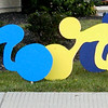 Debbie Blank | The Herald-Tribune<br /> Decorations to welcome cyclists into downtown Batesville were created by Tony Schantz, the dad of Liz Kellerman. She and Gwen Reverman, who both work at St. Andrews Health Campus, planned the four Saturday rides on behalf of the business to benefit Margaret Mary Health Foundation.