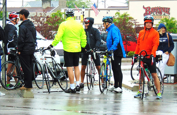 Debbie Blank | The Herald-Tribune     <br /> Cyclists congregate at Batesville Shopping Village, fittingly near the bike park. For the first time, the event began in downtown Batesville.