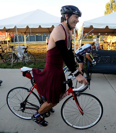 "Bike mechanic, John Gadbois, dressed for the occasion.<br /> The third annual Venus de Miles bike ride had hundreds of women participants leaving from Propect Park in Longmont.<br />  For more photos and a video of Venus de Miles, go to  <a href=""http://www.dailycamera.com"">http://www.dailycamera.com</a>.<br /> Cliff Grassmick / August 29, 2010"