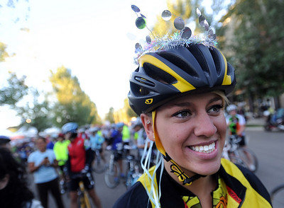 Lauren Harnagel of Golden sparkled before the 67-mile ride. The third annual Venus de Miles bike ride had hundreds of women participants leaving from Tenacity Park in the Prospect area of Longmont.  For more photos and a video of Venus de Miles, go to www.dailycamera.com. Cliff Grassmick / August 29, 2010