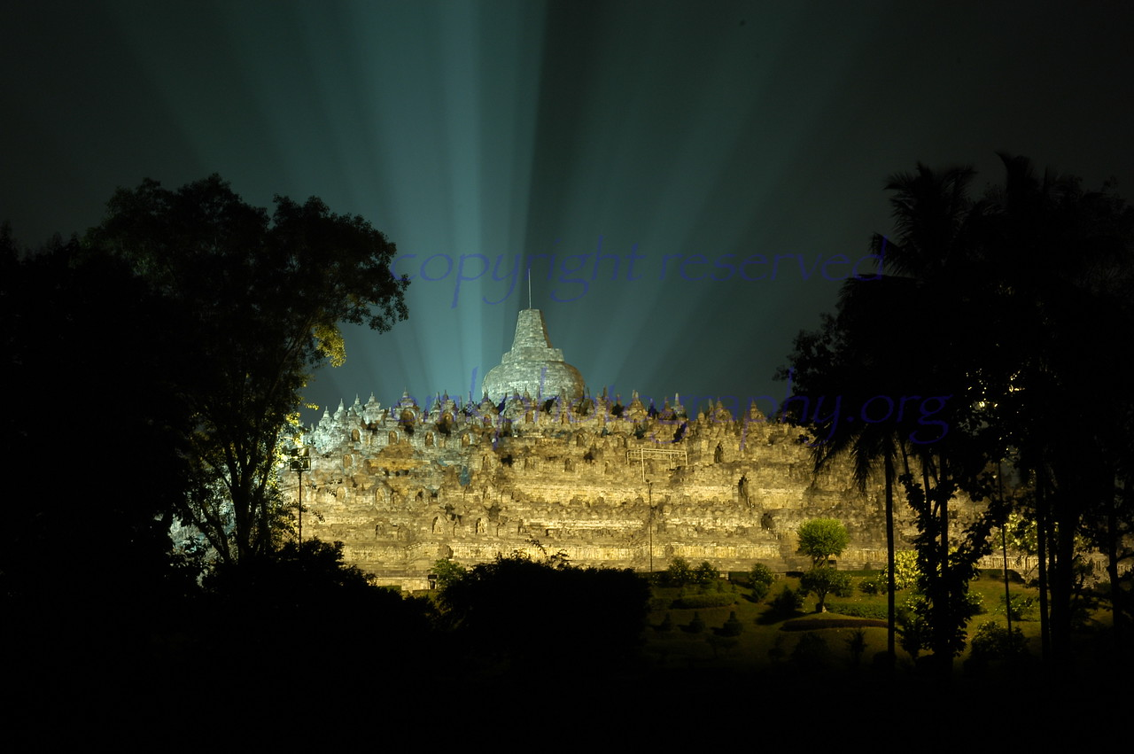 Borobodur on Vesak Day May 2005 site of the largest Buddhist monument in the world. This is the President of Indonesia's  view.