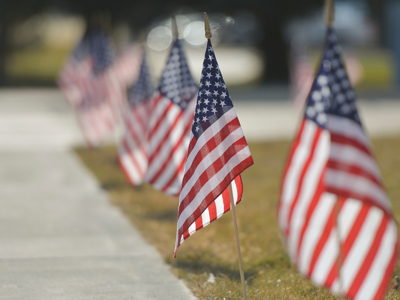 Justin Sheely | The Sheridan Press	<br /> Flags line the plaza during the Veterans Day ceremony Friday at the Sheridan College Veterans Plaza.