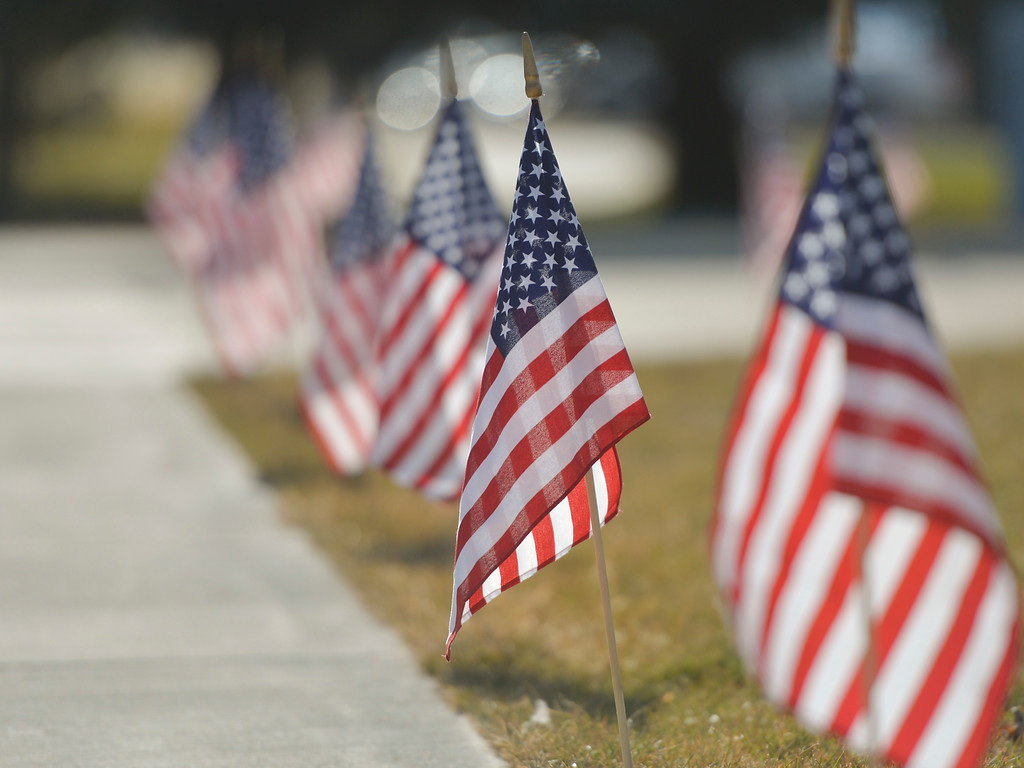 Justin Sheely | The Sheridan Press<br /> Flags line the plaza during the Veterans Day ceremony Friday at the Sheridan College Veterans Plaza.