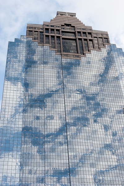 Not a chalk drawing, but rather the reflections of the sky on a Houston building.