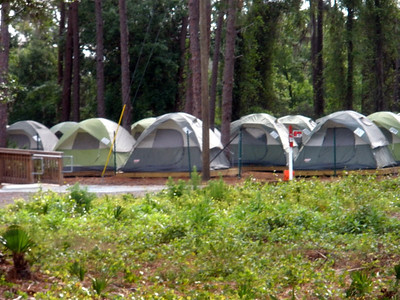 Tent village seen from apartments area
