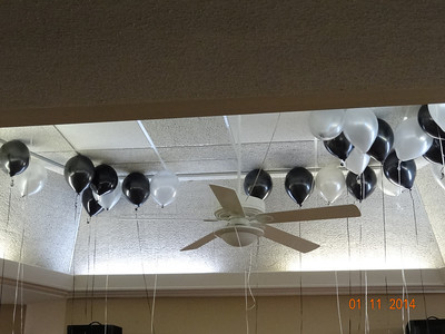 "Balloons depicted the ""black, white and grey"" theme"