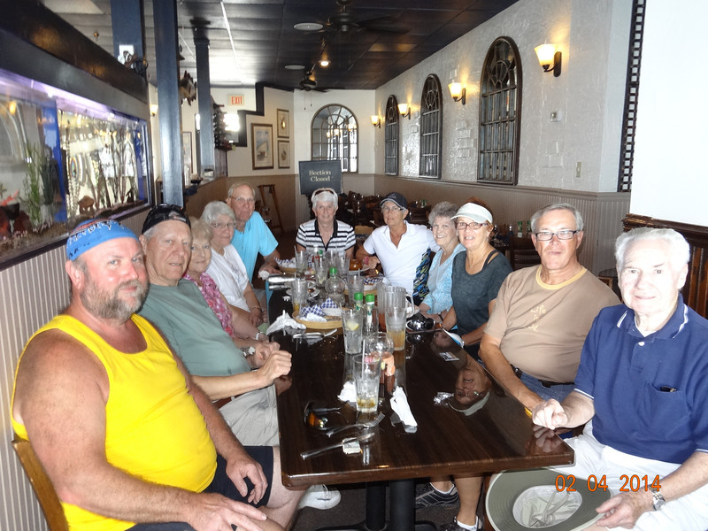 Lunch at Backwaters. Pat Kelly, Doug & Betty Ropp, Audrey & Fred Gatesman, Kathy Scott, Reenie Schauf, Phil Connel, Vadis & Dwaine Voas, Matt Connel