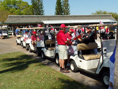 Lining up the carts before heading out for the shot-gun start