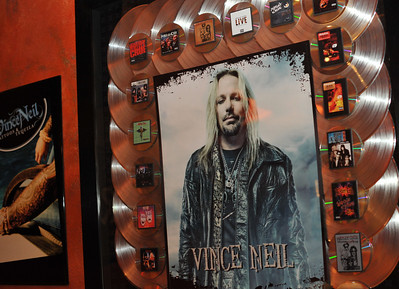 Rocker Vince Neil opening his Tres Rios cantina and tequila bar in the Las Vegas Hilton Casino Resort.  Tres Rios Tequila is Vince Neil's new single agave tequila made at Tequila Tlaquepaque under the care of the Sanchez Martin Family in Guadalajara, Mexico. This rocker's tequila comes as Tres Rios Silver, Tres Rios Reposado and Tres Rios Anejo. Photograph by Las Vegas photographer Mark Bowers.