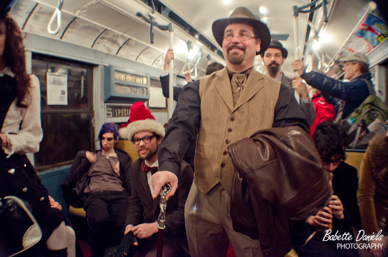 """Photos from the December 24 vintage Train ride with the New York and New Jersey Steampunks.<br /> <br /> The Vintage train runs the entire month of December on the F line in Manhattan between 2nd Ave and Queens Plaza.<br /> <br /> View the full gallery here:  <a href=""""http://www.babetted.com/Events/Steampunk/Vintage-Train2011/"""">http://www.babetted.com/Events/Steampunk/Vintage-Train2011/</a>"""