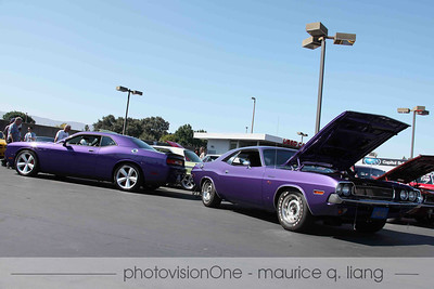 Steve and Laura Grabar's classic and modern Plum Crazy Challengers.