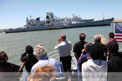 Club members check out the USS Iowa battleship.