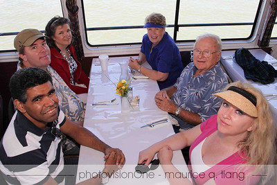 Bruce Meyers, inventor of the fiberglass dune buggy, and his wife Winnie (upper right) join us for the cruise.