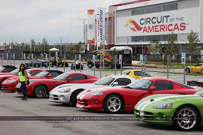 Hilary checks out the Vipers in the Viper corral at Circuit of the Americas in Austin.