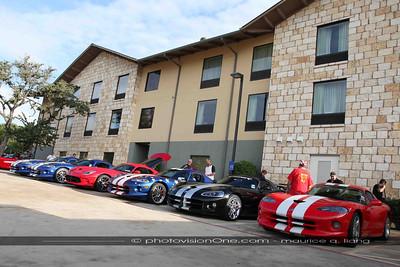 Viper parking outside the Hampton Inn hotel.