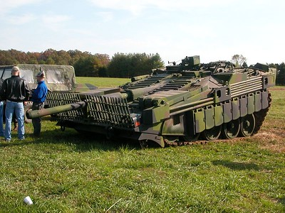 Swedesh Main Battle Tank.  Looks like the front has collapsed but it is made to do that.