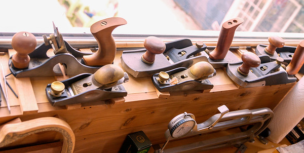 A collection of wood planes