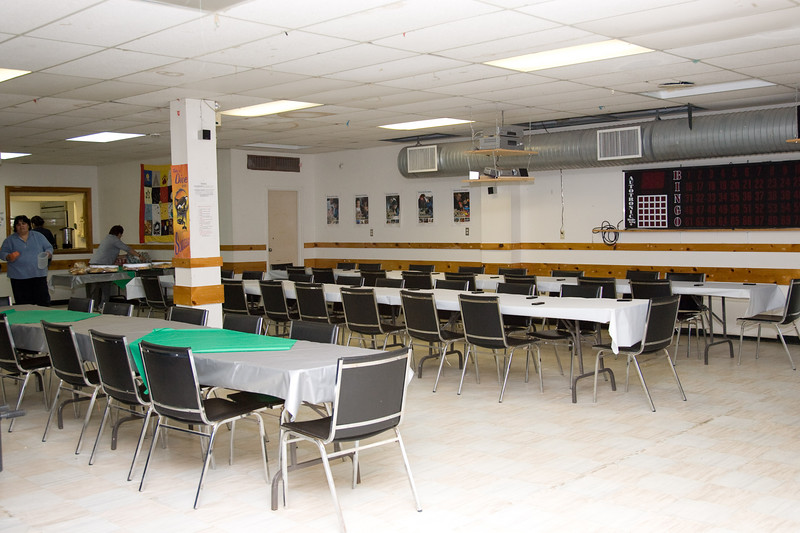 basement of Moosonee Native Friendship Centre set up for volunteer recognition dinner
