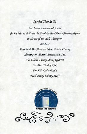 W Hale Thompson Dedication