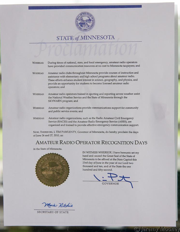 MN Amateur Radio Proclamation