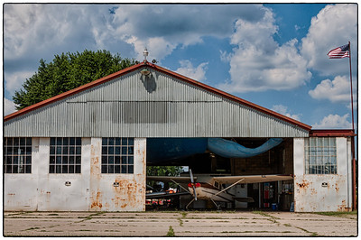 The hangar at the Wynkoop Airport during the 53rd National Waco Club Reunion in Mount Vernon, Ohio. Shot on morning of June 23, 2012..