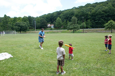 WAHS 1984 25th Class Reunion, Williamsport PA -  Pete White playing ball with the kids.