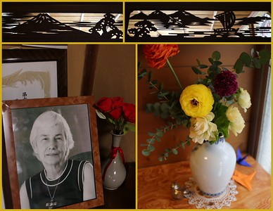 Collage from select interior views of the World Friendship Center: Two wooden carved panels inside the WFC Library (above), photo of Barbara Reynolds, Founder, World Friendship Center, and flowers and cranes inside the doorway entrance of the WFC (lower right).