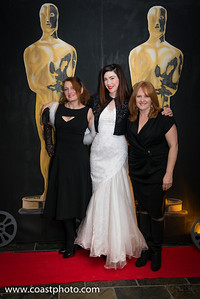 Local film superstars Angie Nolan, Sharai Rewels, and Shauna Hardy-Mishaw attend the Oscar Party put on the by the Whistler Film Festival Society.