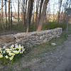 new stone wall at Schoolhouse Rd entrance