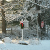 swags, assembled and hung by volunteers, are attached to each side of our decorative road signs for the holiday season