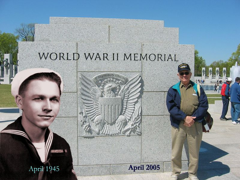 In April 1945, Len Reid was a sailor on the USS MELVIN R. NAWMAN DE-416- serving his country in the Pacific.<br /> <br /> In April 2005, his proud children got to accompany him to Washington DC to see the World War II Memorial that was built to honor patriotic veterans like him