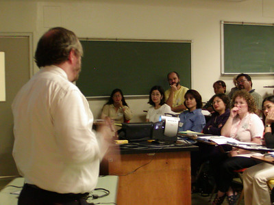 """Write Winning Grants"" seminar presentation at the University of Guam. Dr. David Morrison is the presenter."
