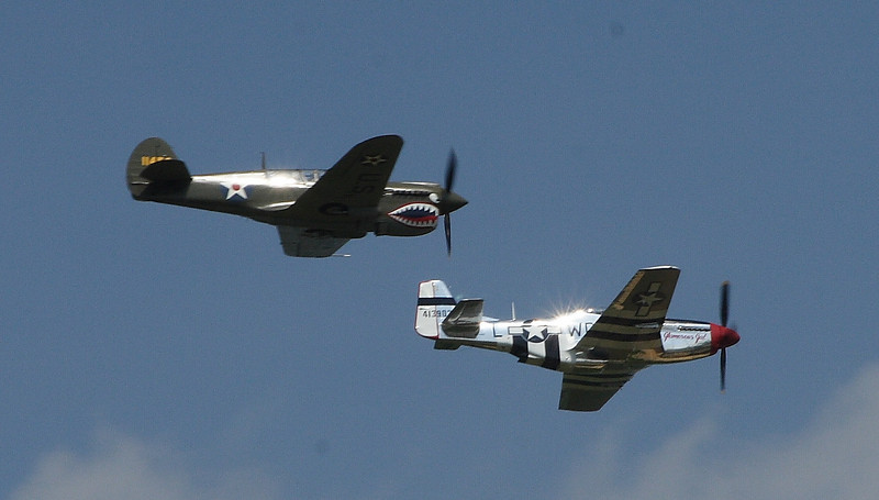 P-40 and P-51 During the afternoon battle with the Germans