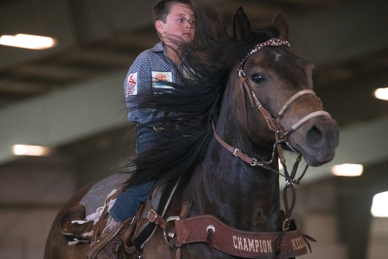 Matthew Gaston | The Sheridan Press<br>Quade Sadler rides like the wind to finish his run during the peewee barrel racing event at the WYJRA Rodeo Saturday, June 22, 2019.